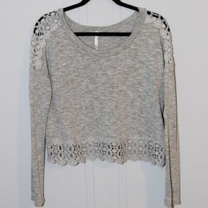 Grey Lace Lined Knit Top